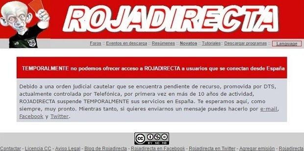 A día de hoy, las actividades de Rojadirecta siguen suspendidas en España