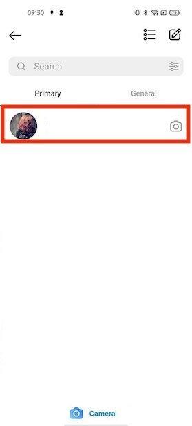 Abrir conversación de chat en Instagram