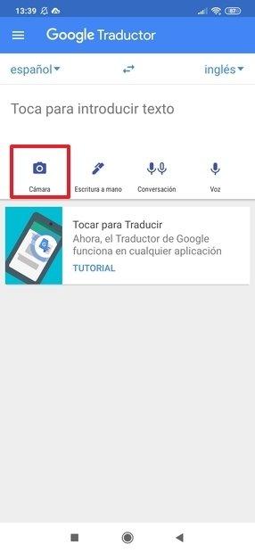 Abrir la cámara en el traductor de Google