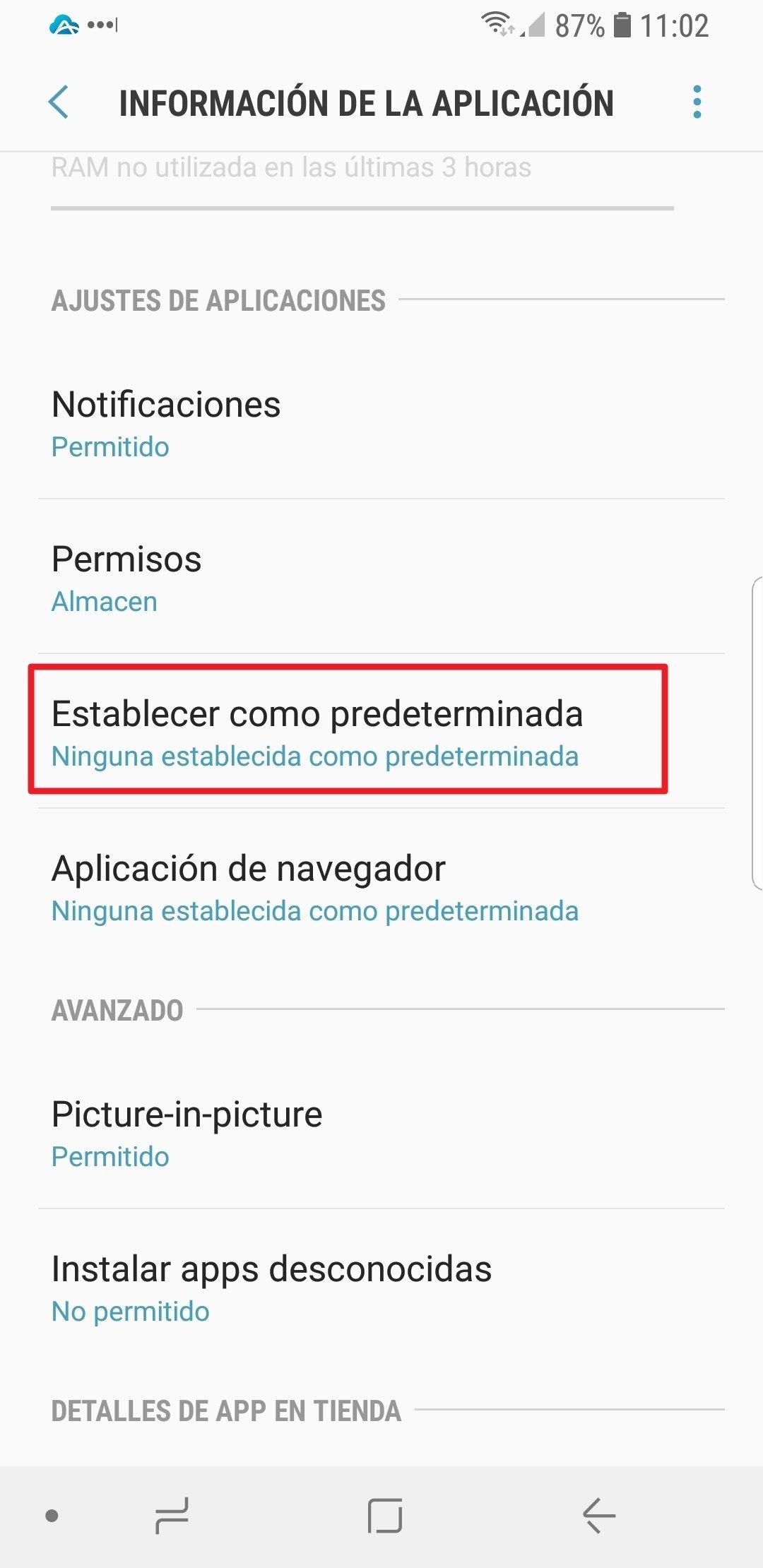 Abrir las opciones de una app predeterminada en Android