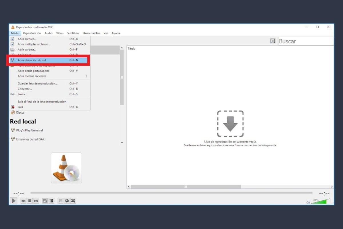 Abrir una ubicación de Red con VLC