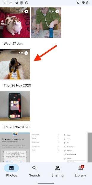 Abrir vídeo en Google Fotos