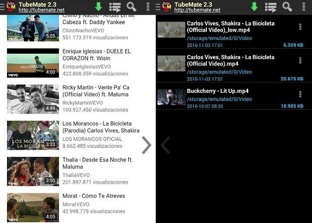 Accede al menú con todos los vídeos descargados con TubeMate