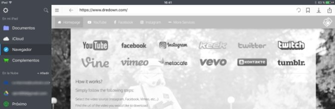 Acceder a DreDown para descargar vídeos con Documents 6