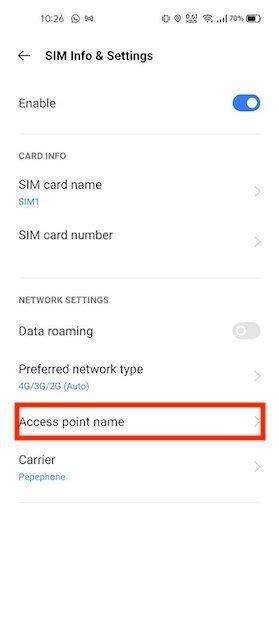 Acceder a la configuración del punto de acceso