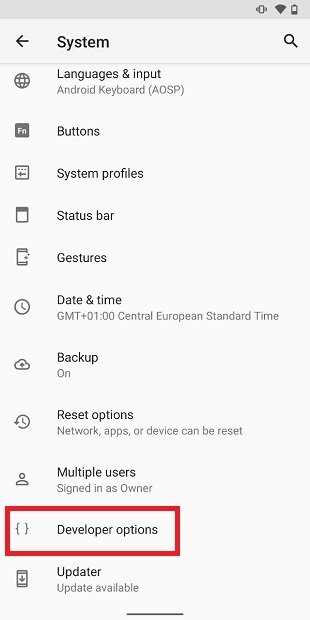 Acceder a las opciones de desarrollador en Android