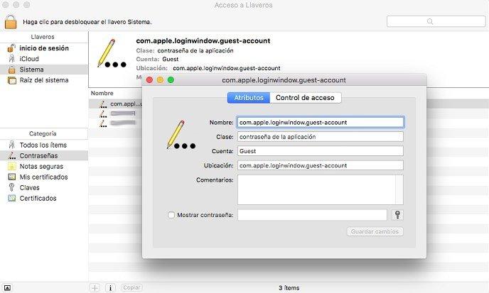 Acceso a Llaveros en OS X