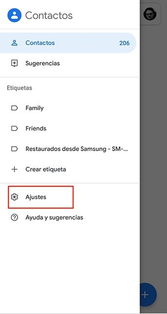 Acceso a los ajustes de los contactos de Google