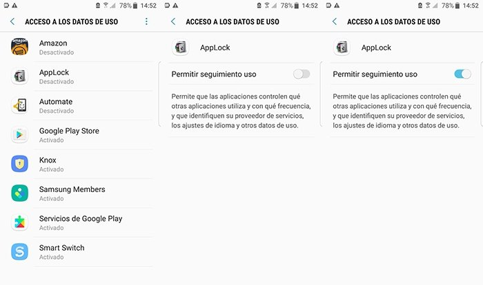 Acceso a los datos de uso a AppLock