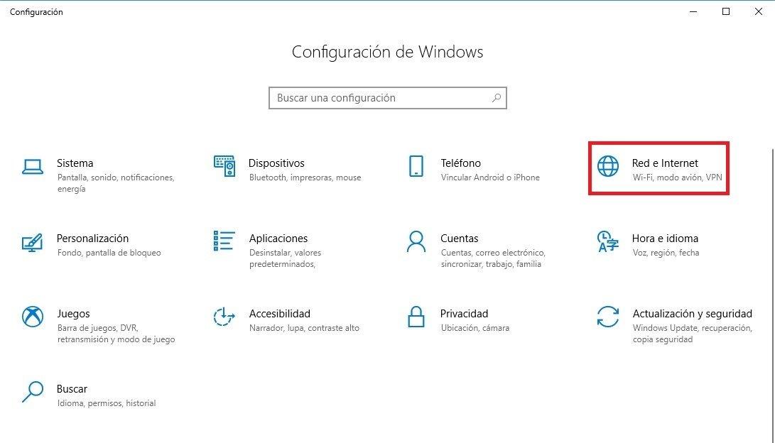 Acceso a Red e Internet en Windows 10