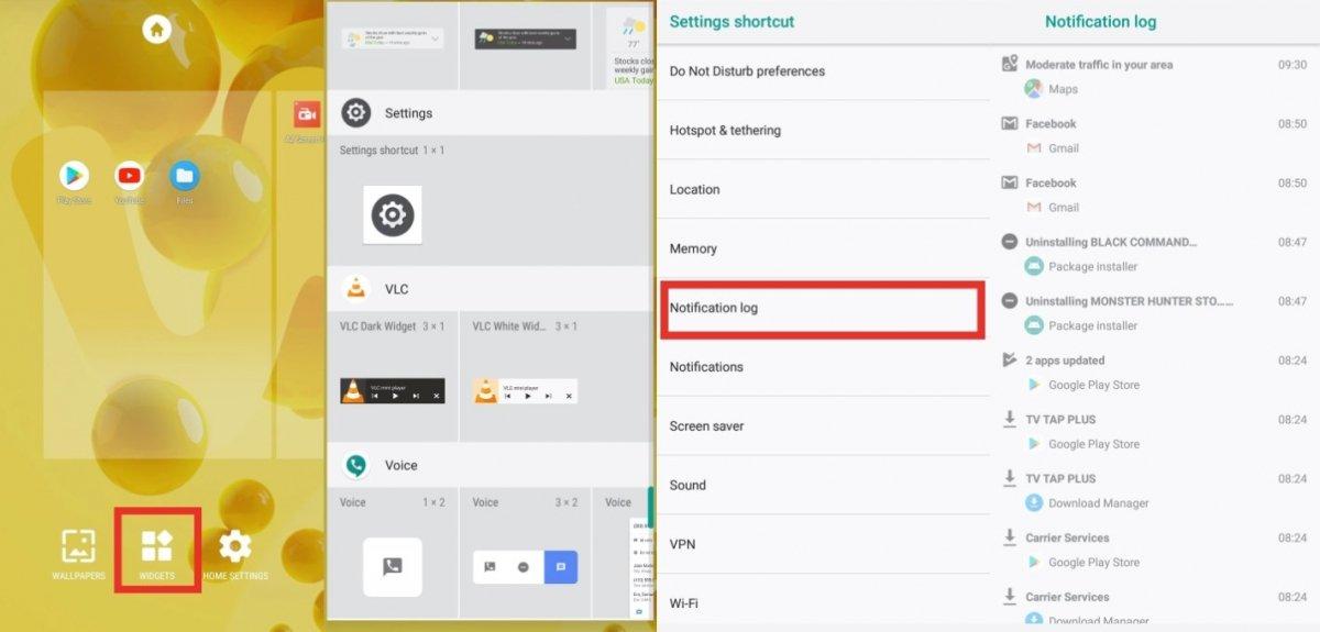 Acceso directo al historial de notificaciones de Android