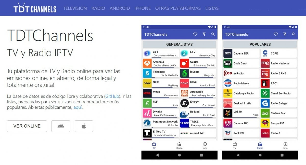 Acceso online a TDT Channels