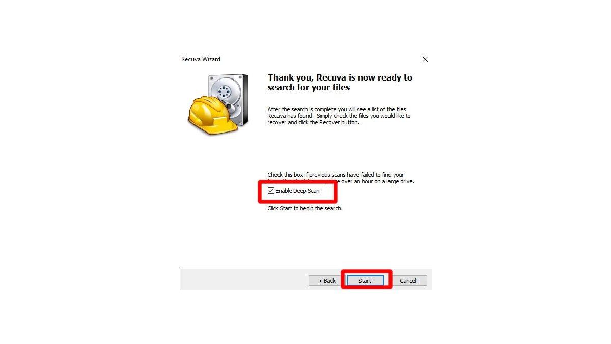 Activa la casilla de Enable Deep Scan y clic en Start