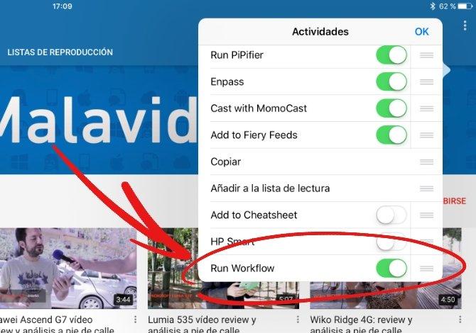 Activando Workflow en el menú de compartir de iOS