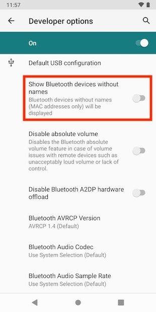 Activar dispositivos Bluetooth sin nombre