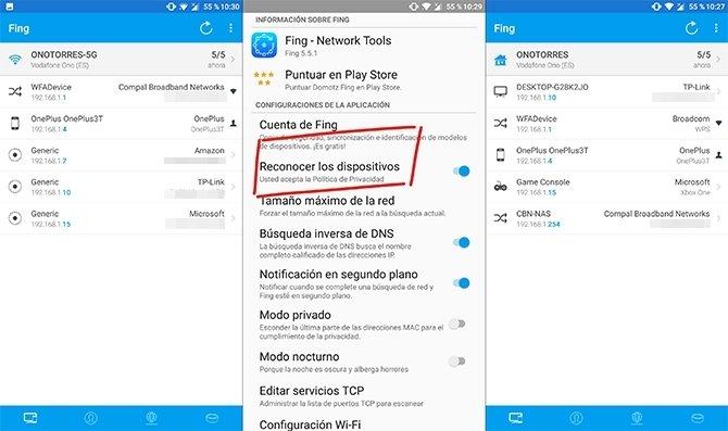 Activar el reconocimiento de dispositivos en Fing