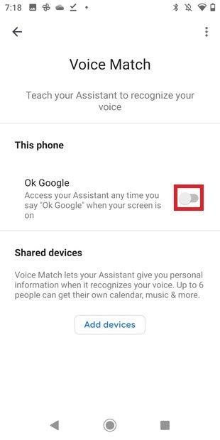 Activar Ok Google en los ajustes del asistente