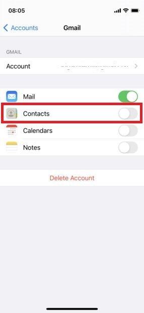 Activar sincronización de contactos