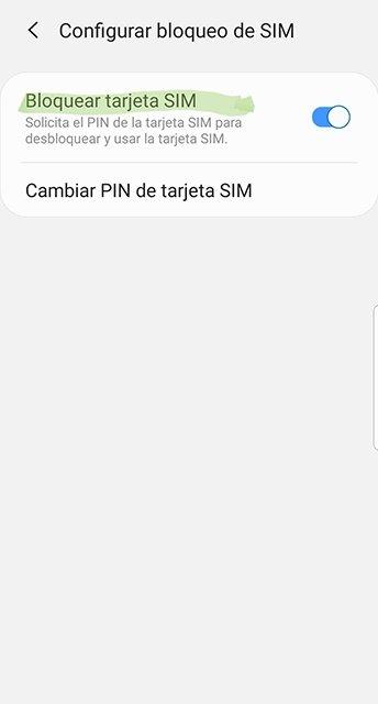 Activar y desactivar el bloqueo de tarjeta SIM