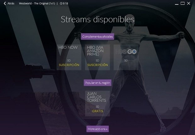 Add-ons disponibles para ver Westworld online mediante streaming