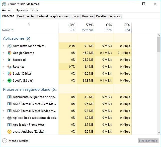 Administrador de tareas de Windows 10