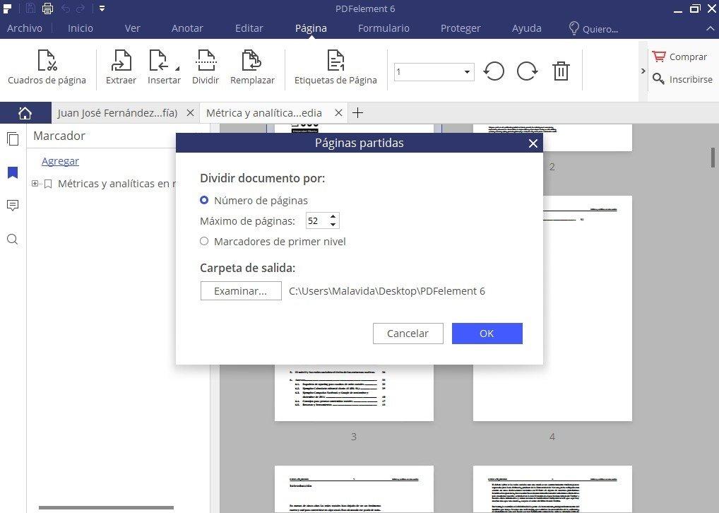 Admite fragmentación en volúmenes de un PDF como tantas páginas tenga el documento