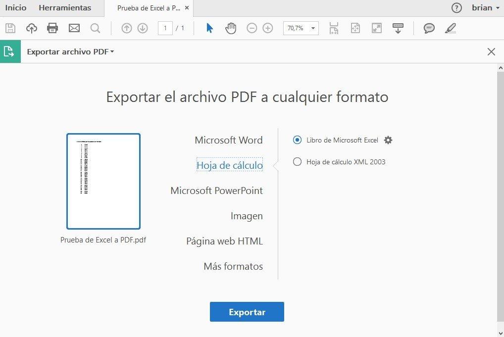 Adobe Acrobat ofrece la posibilidad de convertir PDF a Excel mediante un sencillo proceso