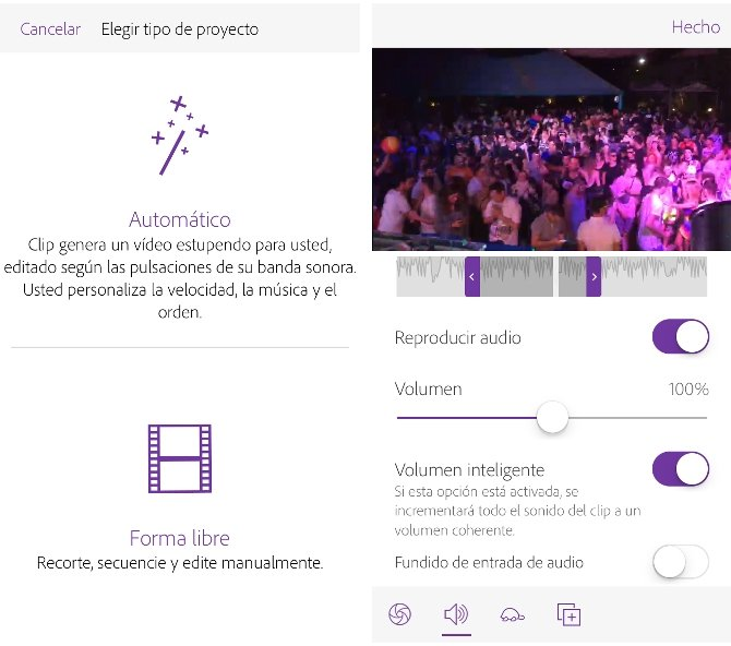 Adobe Premiere Clip en un iPhone