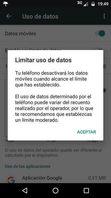 Advertencia de límite de datos
