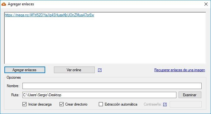 Agregando enlaces en MegaDownloader