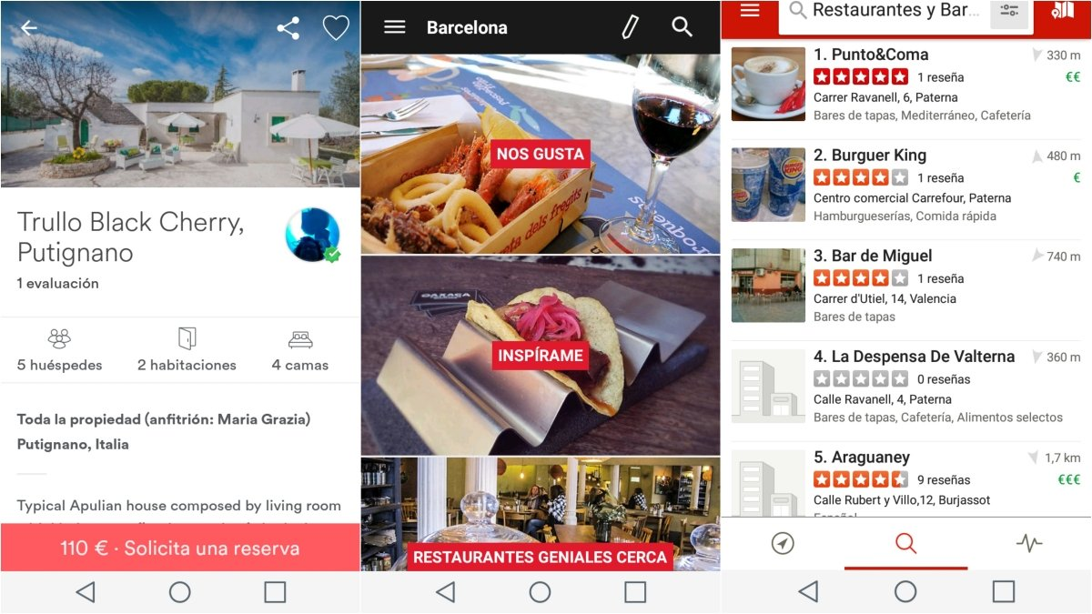 Airbnb, Yelp y Time Out en Android