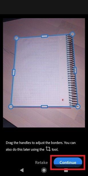 Ajustar contenido del documento en Adobe Scan