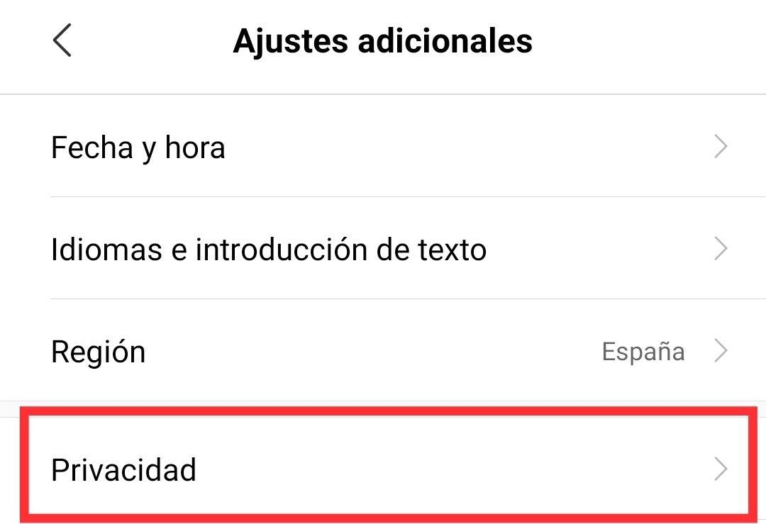 Ajustes adicionales de Android