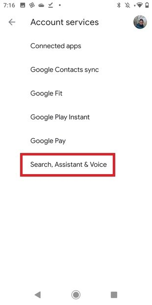 Ajustes de búsqueda y voz