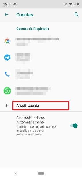 Ajustes de cuentas de Android