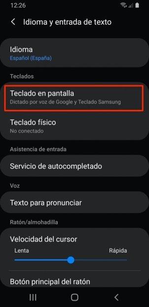 Ajustes de entrada de texto en teléfonos Samsung