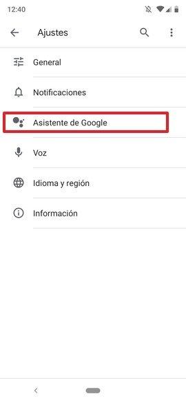Ajustes de Google Assistant
