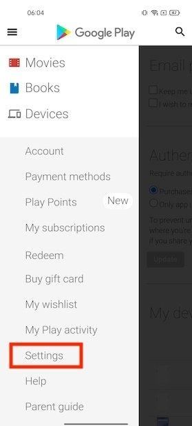 Ajustes de Google Play
