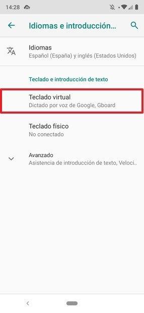 Ajustes de idioma y entrada de texto en Android