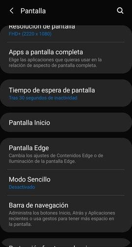Ajustes de pantalla en Android