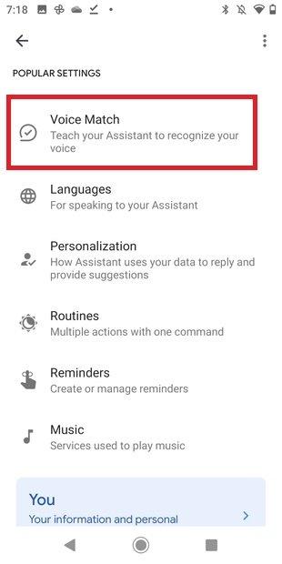 Ajustes de reconocimiento de voz