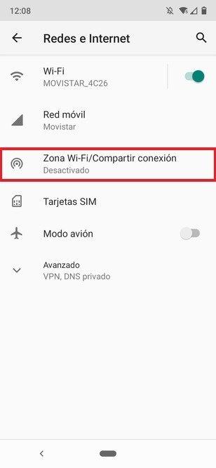 Ajustes de redes e Internet de Android