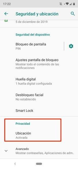 Ajustes de Seguridad de Android