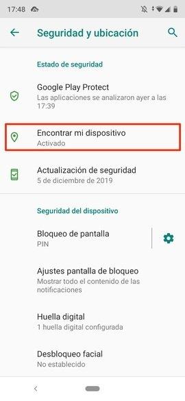 Ajustes de seguridad y ubicación de Android