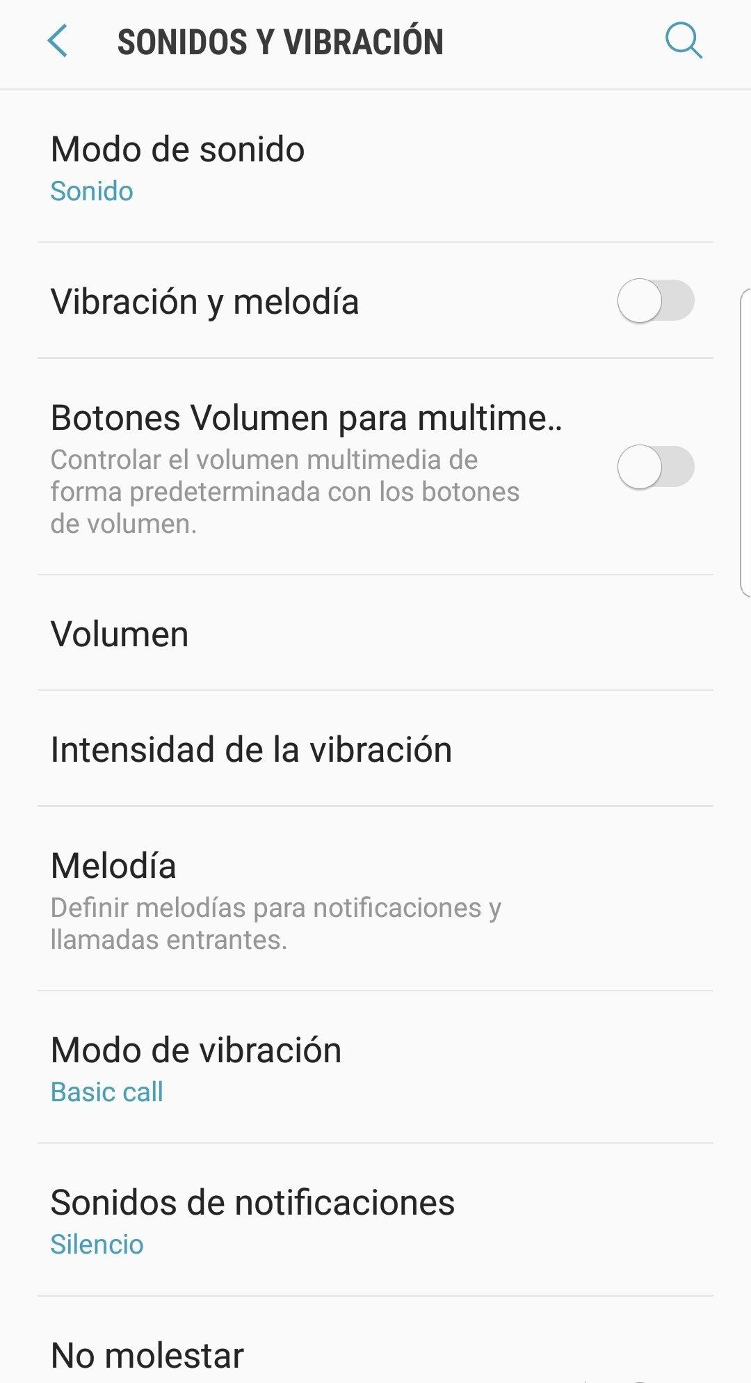 Ajustes de sonido en Android