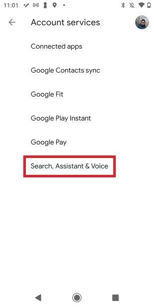 Ajustes del asistente, de la búsqueda y de voz