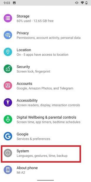 Ajustes del sistema de Android