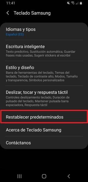 Ajustes del teclado de Samsung