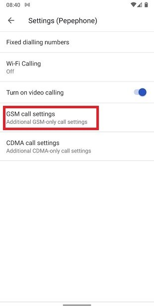 Ajustes GSM