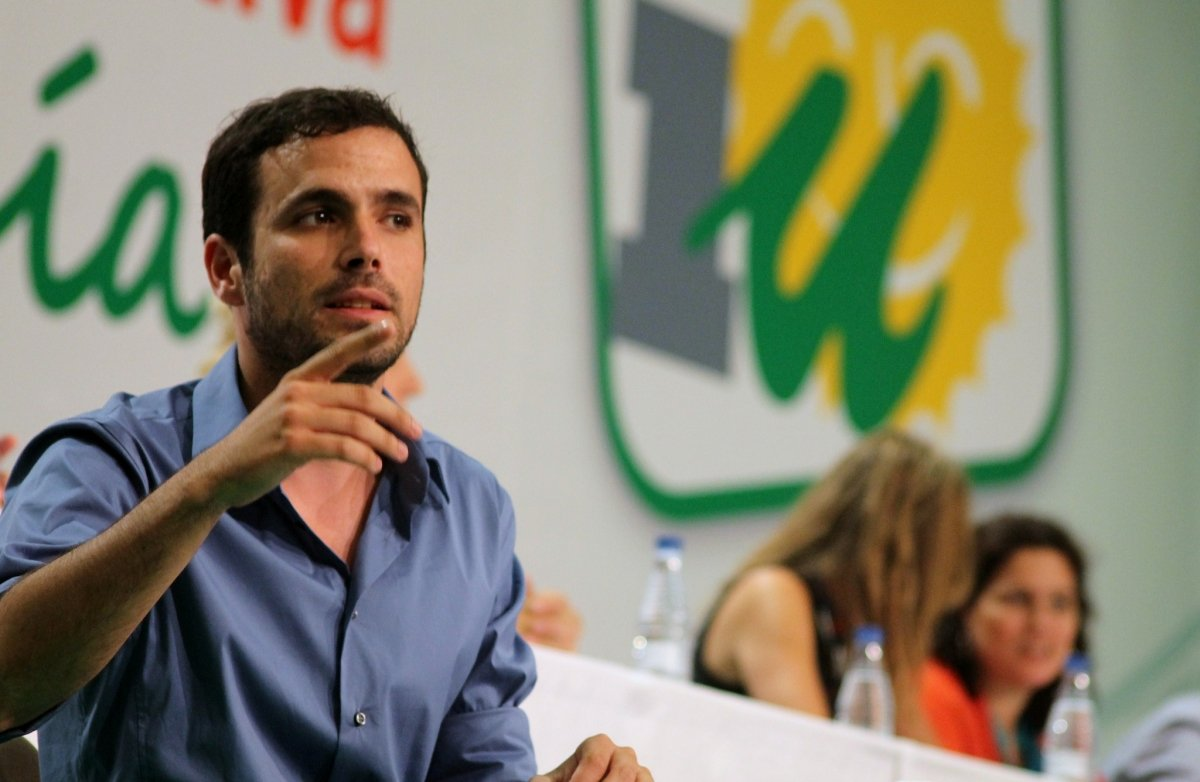 Alberto Garzón, cabeza de Unidad Popular, en una asamblea de Izquierda Unida